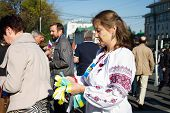 Peace March, girl in the Ukrainian national clothes