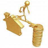 Golden Key Bridge Between Home And Dollar Coins