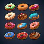 Super donut pack.Chocolate vanilla desserts. sweets and pastries for your bakery menu design