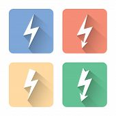 Flat Lightning Icons. Vector Illustration