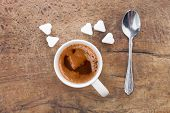 Cup Of Coffee With Sugar Cubes In Shape Of Heart