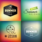 Retro styled summer calligraphic design card set