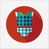 Baby Clothes Flat Icon With Long Shadow,eps 10
