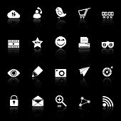 Internet Useful Icons With Reflect On Black Background