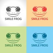 stock photo of orange frog  - Smile frog symbol icon set - JPG