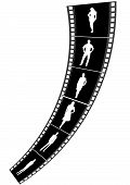 Illustration of a film strip with business people