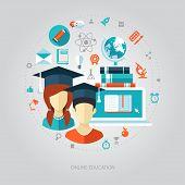 Illustration of flat design education composition