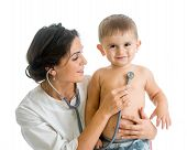 Doctor Examining Child Boy Isolated On White
