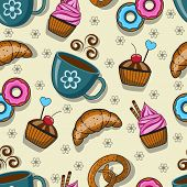 Seamless pattern with cups and sweets