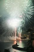 stock photo of genova  - Pyrotechnic event of late summer in Recco Genova Italy