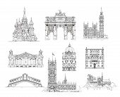 Famous buildings, Sketch collection