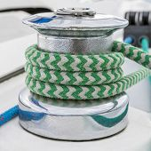 Sail Boat - Close Up On Winch And Rope