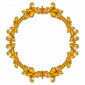 Baroque ornamental antique gold frame on white background.