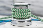 Sail Yacht - Winch, Green And Blue Rope