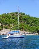 Boat sailing near shore
