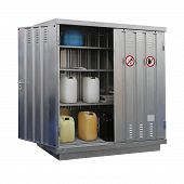 stock photo of hazardous  - Storage of hazardous and combustible materials locker isolated - JPG