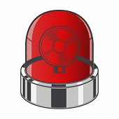 Red Emergency Siren Isolated On A White Background. Color Line Art. Retro Design. Vector Illustratio