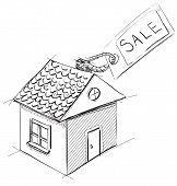 House with sale or price label
