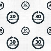 Every 30 minutes sign icon. Full rotation arrow.