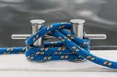 Blue Rope Fasten On Stake Of Yacht