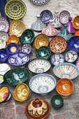image of tagine  - Tagines for sale at a shop in Morocco - JPG