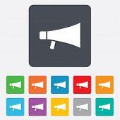Megaphone soon icon. Loudspeaker symbol.