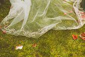Detail Of A Bride's Dress Over A Grass Floor