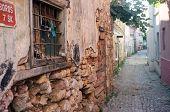 Narrow road between houses