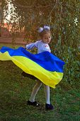 Girl In Embroidery With The Flag Of Ukraine