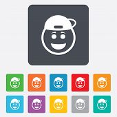stock photo of rapper  - Smile rapper face sign icon - JPG