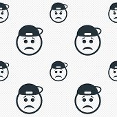 picture of rapper  - Sad rapper face sign icon - JPG