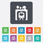 Underground sign icon. Metro train symbol.