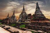 Ancient Buddhist pagoda ruins at Wat Phra Sri Sanphet temple. Ayutthaya Thailand