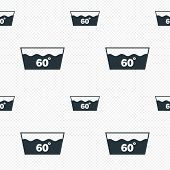Wash icon. Machine washable at 60 degrees symbol