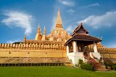 Golden Buddhist Pagoda Of Phra That Luang Temple. Vientiane, Laos