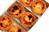 Delicious Portuguese Egg Tart On White Box