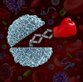 foto of blood  - Immune system concept as an open white blood cell with a boxing glove emerging as a health care metaphor for fighting disease and infection through the natural defense of the human body - JPG