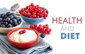 Healthy Breakfast  - Fresh Berries And Natural Yogurt Or Sour Cream
