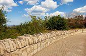 Stone Wall Sidewalk.
