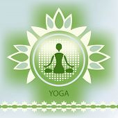 Yoga Lotus Flower Emblem Green Background Meditation Posture Decorative