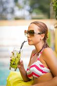 Woman With Mojito Drink In Bikini