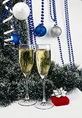Blue Christmas Goblets With Present