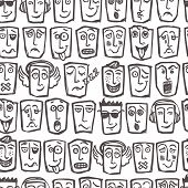 Sketch emoticons seamless pattern