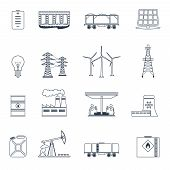Energy icons outline set