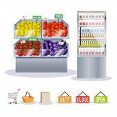 Supermarket fruits vegetables