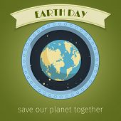 picture of save earth  - Earth day poster with globe in illuminator and ribbon banner vector illustration - JPG