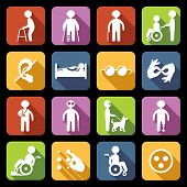 stock photo of disable  - Disabled people help flat icons set isolated vector illustration - JPG