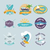 pic of long-fish  - Beach surfing summer yachting labels set isolated vector illustration - JPG