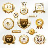 picture of marriage decoration  - Anniversary celebration golden labels and badges set isolated vector illustration - JPG