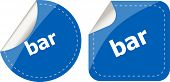 Bar Word On Stickers Button Set, Business Label
